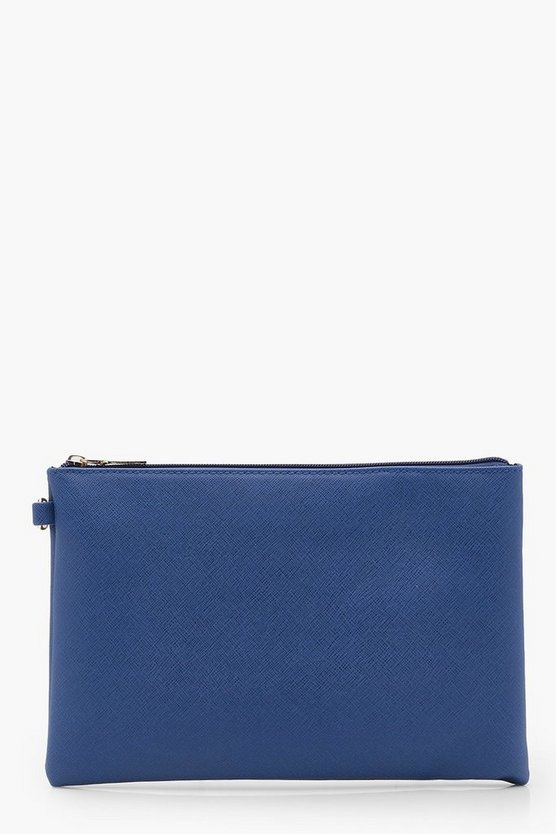 Womens Cobalt Lottie Cross Hatch Zip Top Clutch Bag