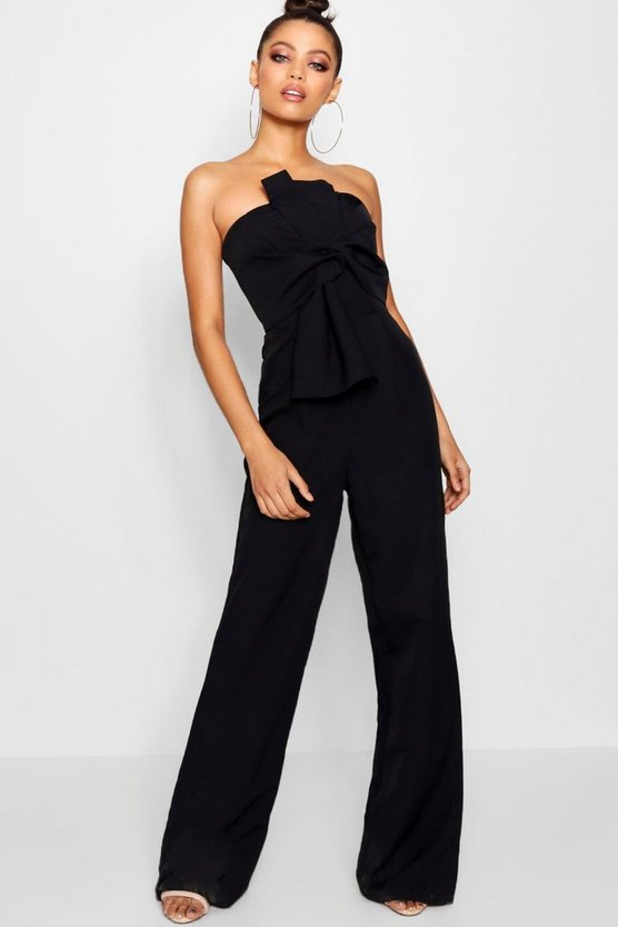 Womens Black Boutique Bow Front Occasion Jumpsuit