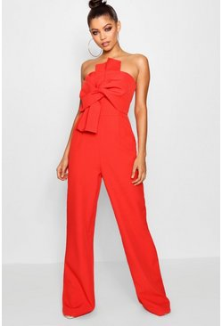 Boutique Bow Front Occasion Jumpsuit, Red, Donna