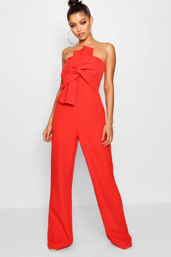 Womens Red Boutique Bow Front Occasion Jumpsuit
