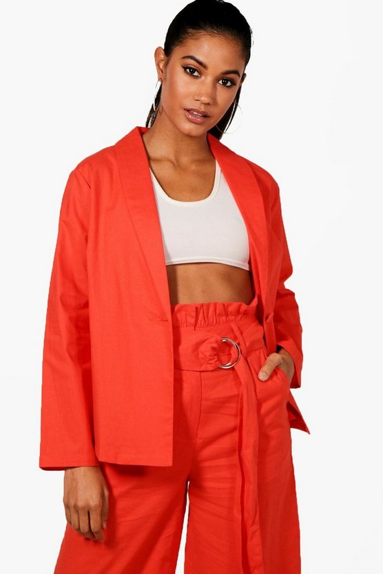 Womens Orange Linen Blazer