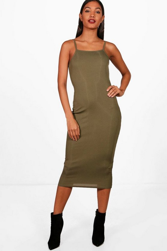 Square Neck Ribbed Midi Bodycon Dress