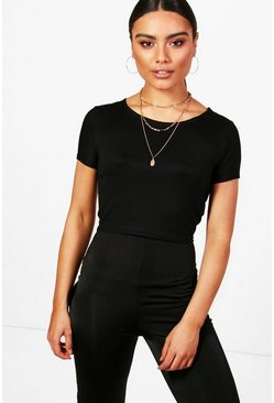 Womens Basic Scoop Neck Cap Sleeve T-Shirt