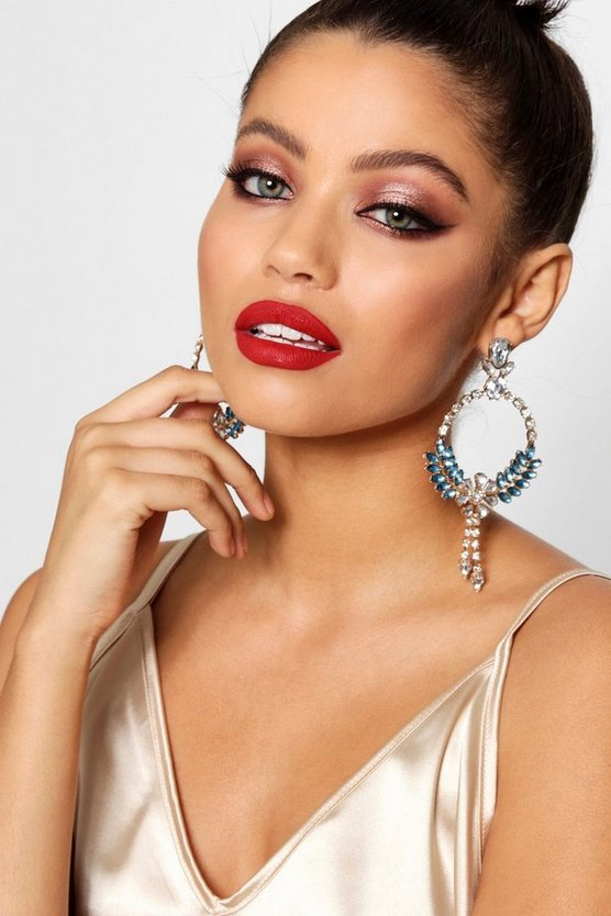 Statement Diamante Drop Detail Earrings