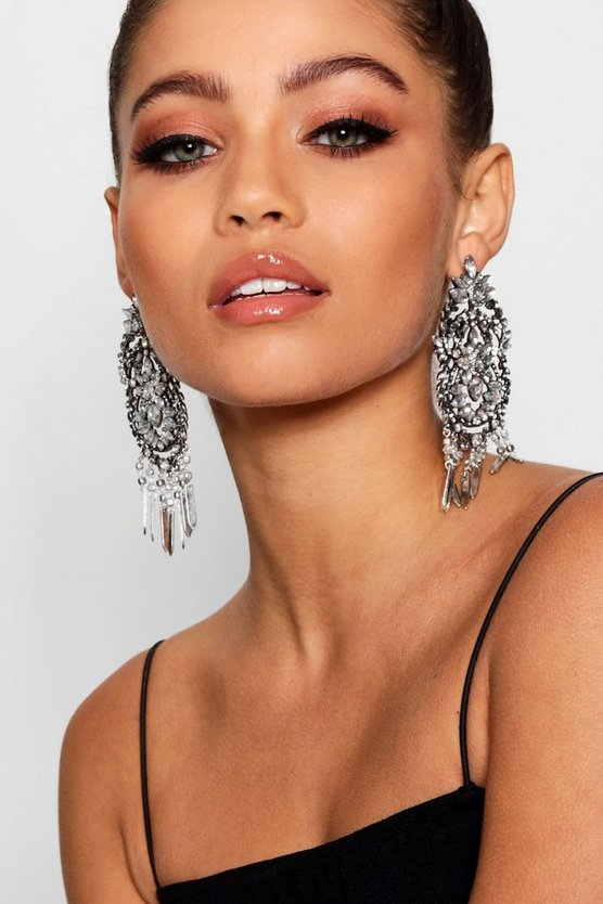 Statement Diamante Chandelier Earrings