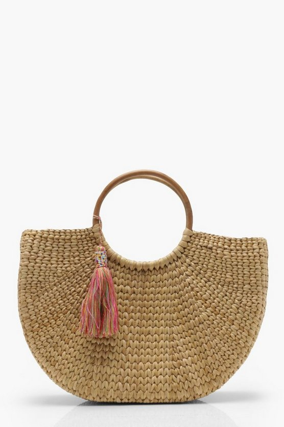 Womens Cream Bamboo Handle Structured Straw Bag