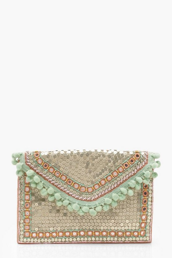 Sequin Pom Occasion Clutch