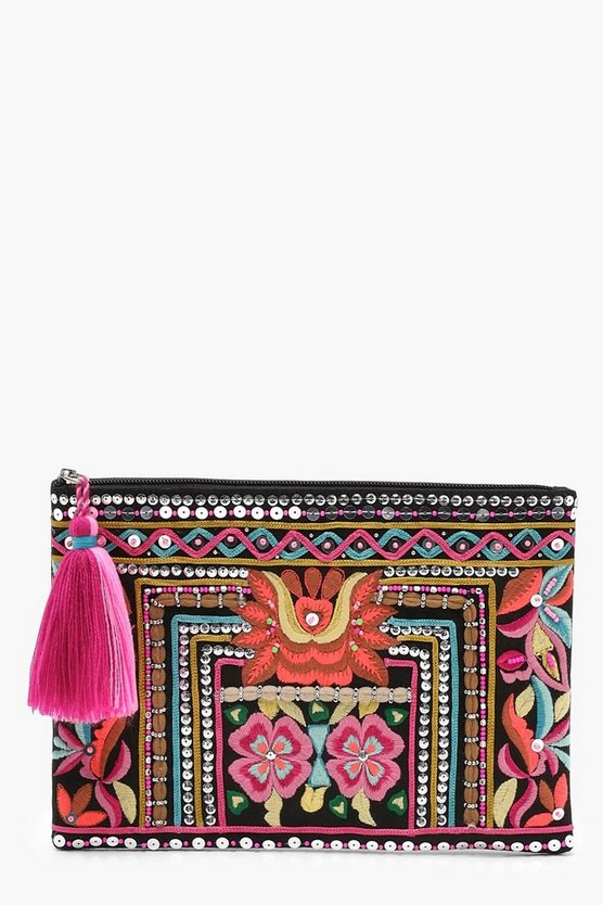 Jenny Embroidery & Bead Zip Top Clutch