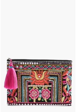 Womens Black Jenny Embroidery & Bead Zip Top Clutch