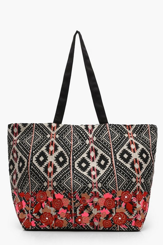 Embroidered Aztec Shoulder Bag