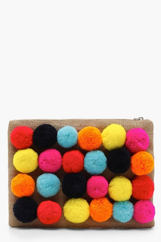 Bright Pom Pom Clutch