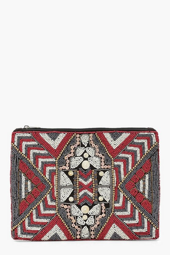 Womens Rust Aztec Embellished Clutch