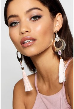 Womens Blush Hoop And Diamante Tassel Earrings