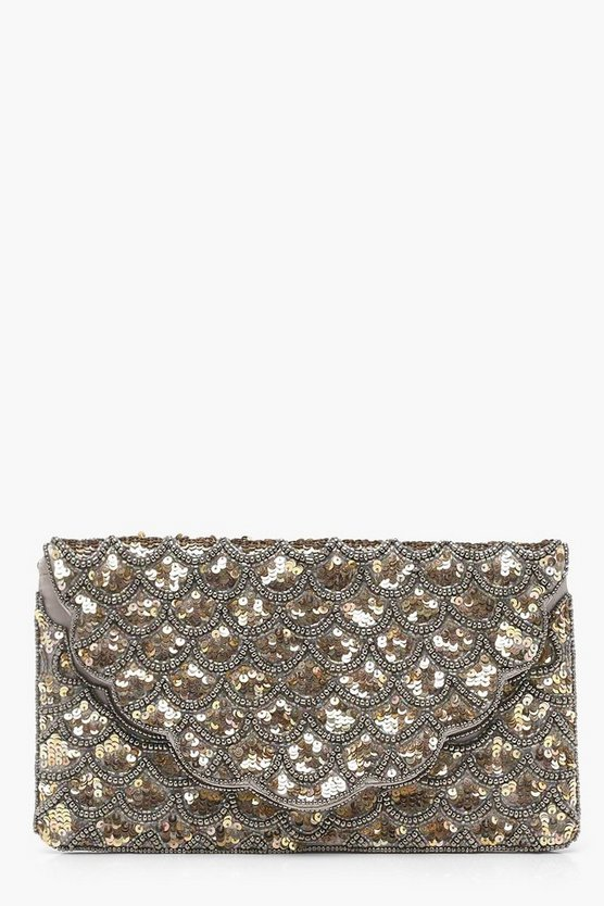 Katie Scalloped Bead And Sequin Clutch