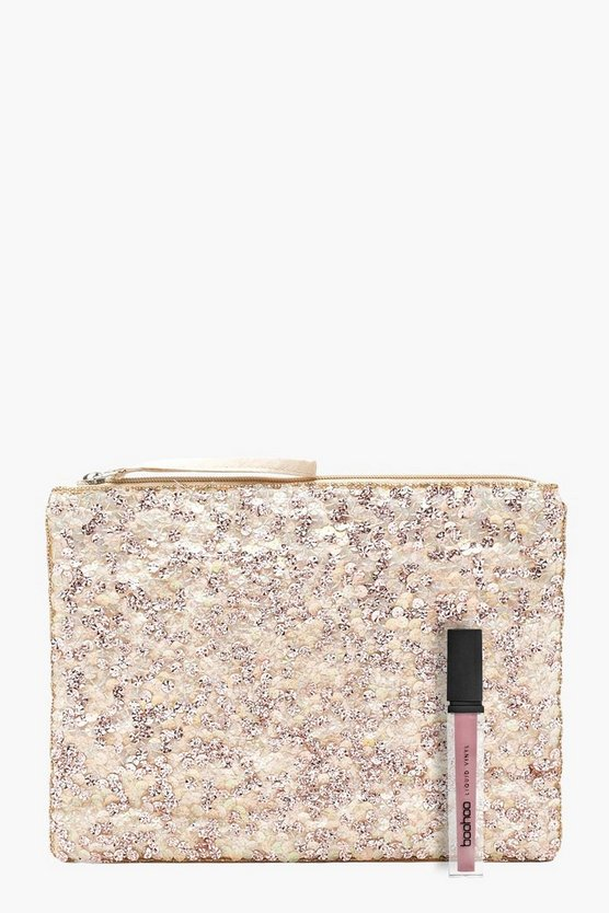 Womens Rose Rose Sequin Clutch