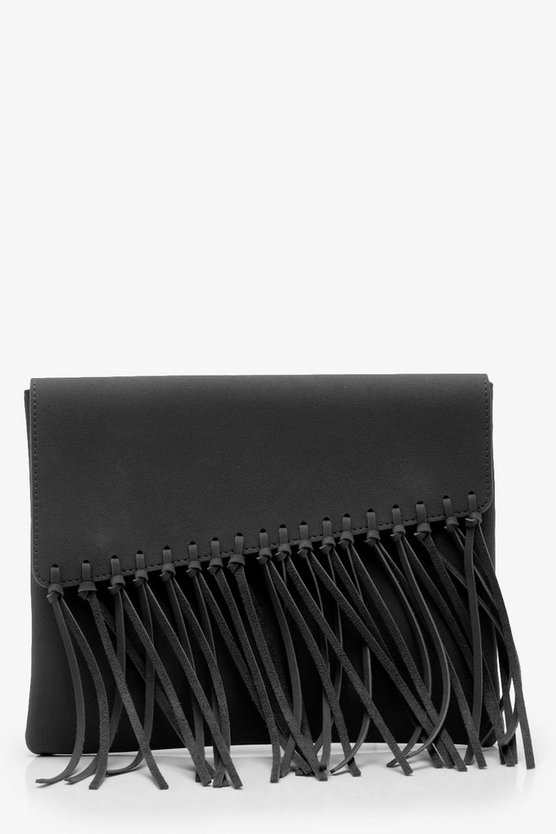 Womens Black Knot Fringed Suedette Clutch