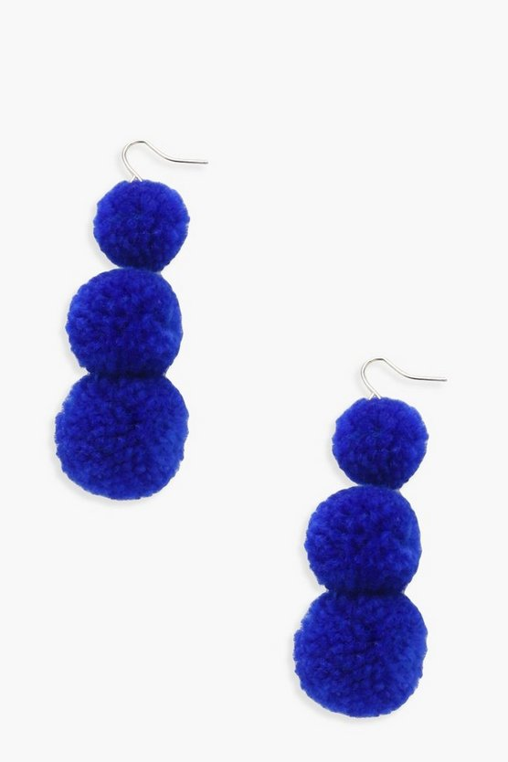 Lola Tiered Triple Pom Earrings