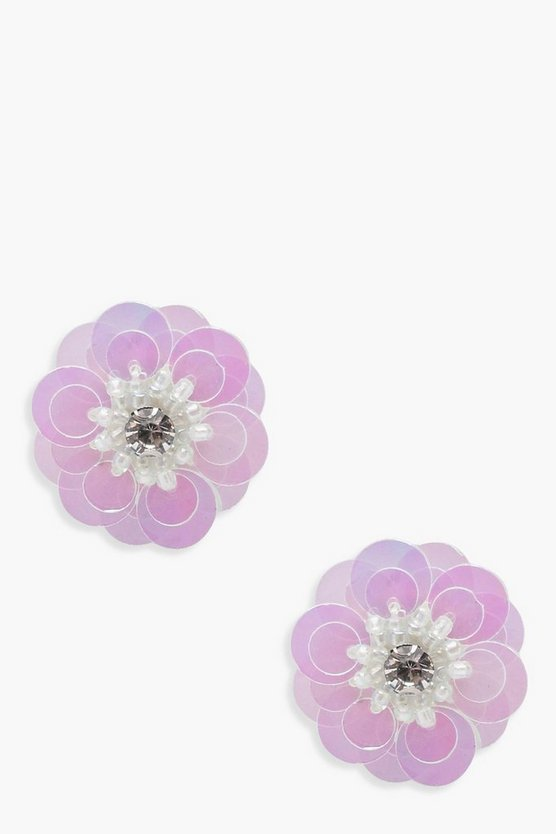 Rosie Diamante Floral Sequin Stud Earrings