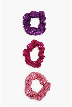 Pink Sequin Scrunchie 3 Pack, MUJER