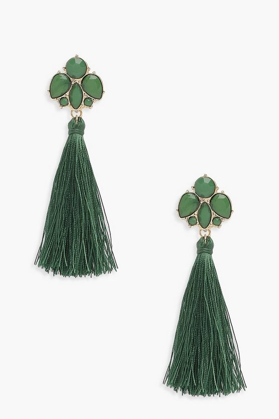 Floral Gem Tassel Earrings