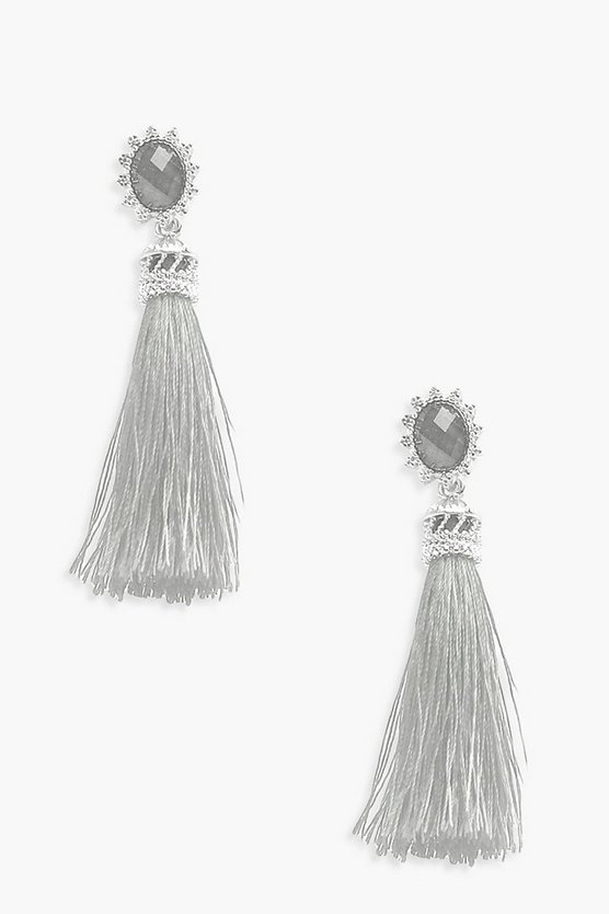 Poppy Engraved Frame Tassel Earrings