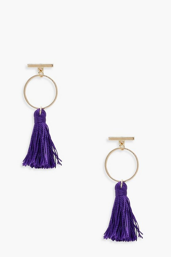 Bar and Hoop Tassel Earrings
