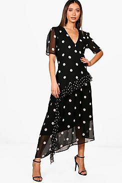 Polka Dot Dresses: 20s, 30s, 40s, 50s, 60s Ally Spot Print Ruffle Asymmetric Hem Midi Dress $52.00 AT vintagedancer.com