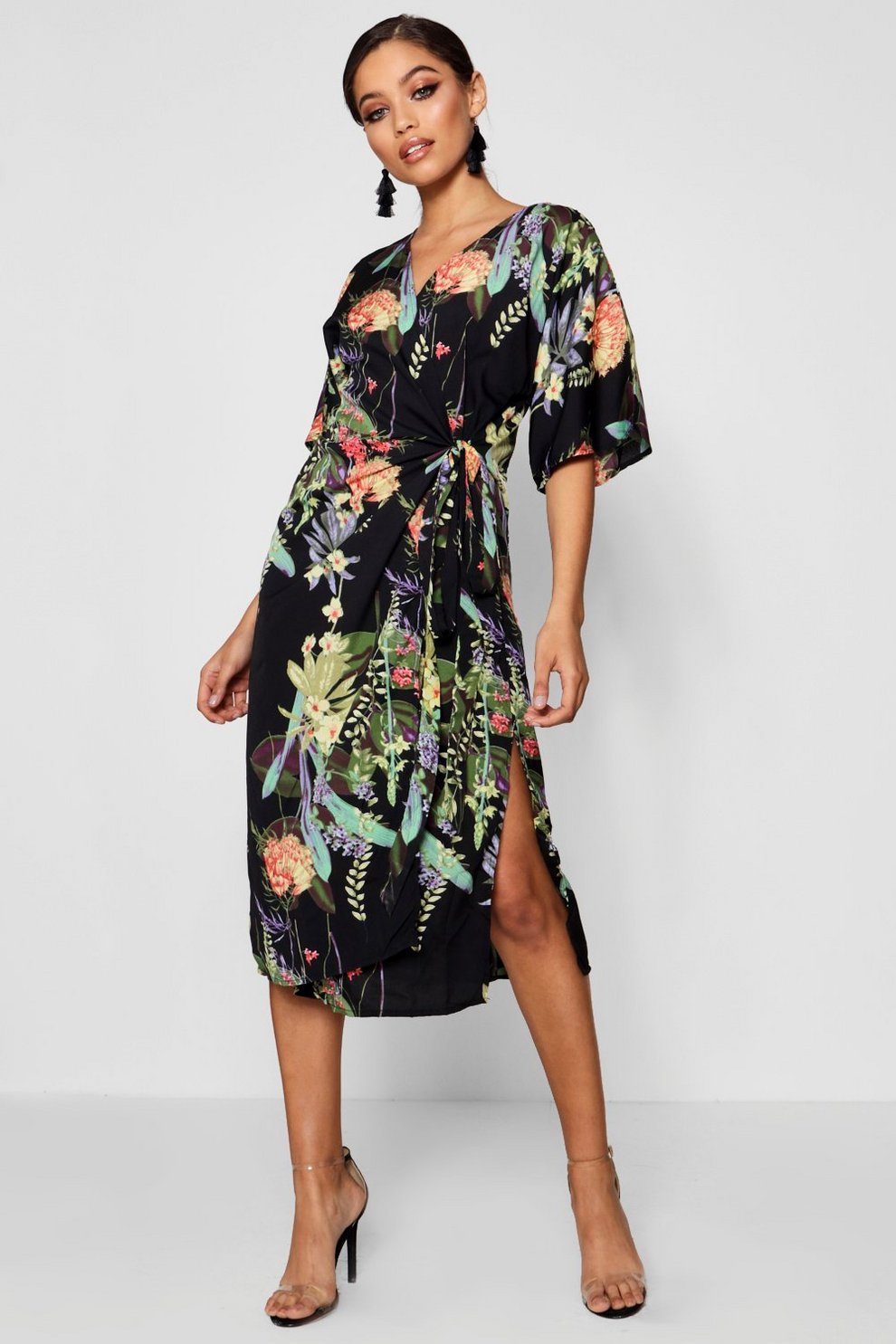 496dbc08d6eb Oriental Piped Wrap Midi Dress | Boohoo