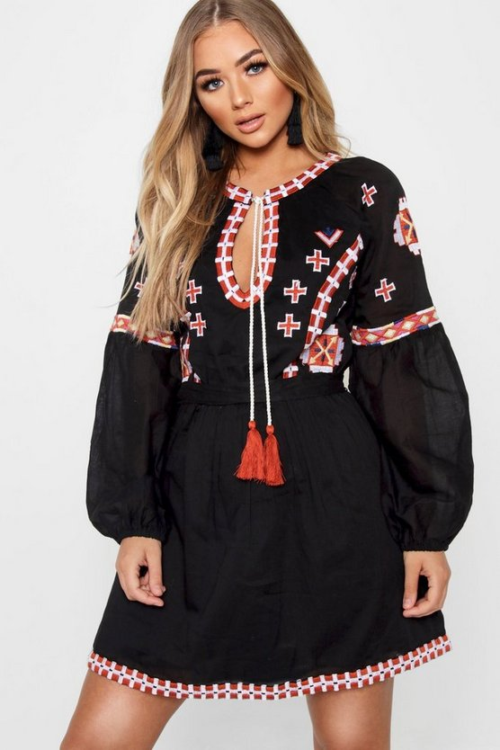 Womens Black Embroidered Tie Smock Dress