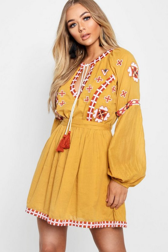 Embroidered Tie Smock Dress