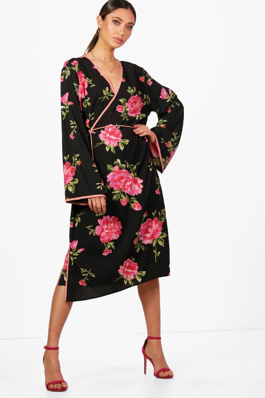 47e588a44020 Floral Kimono Wrap Midi Dress. Hover to zoom