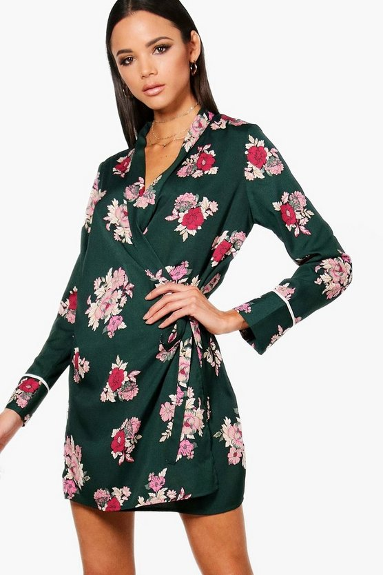 Wrap Floral Shirt Dress With Piping, Green, FEMMES