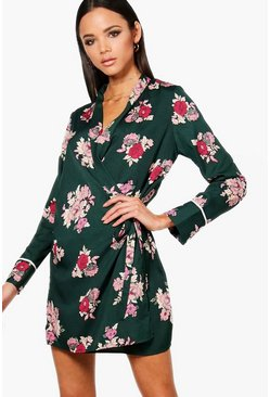 Womens Green Wrap Floral Shirt Dress With Piping