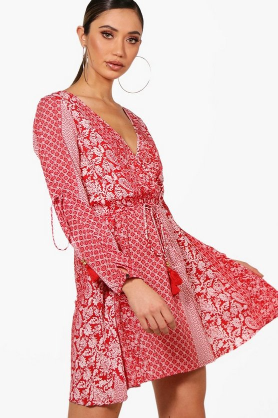 Long Sleeve Wrap Front Paisley Dress