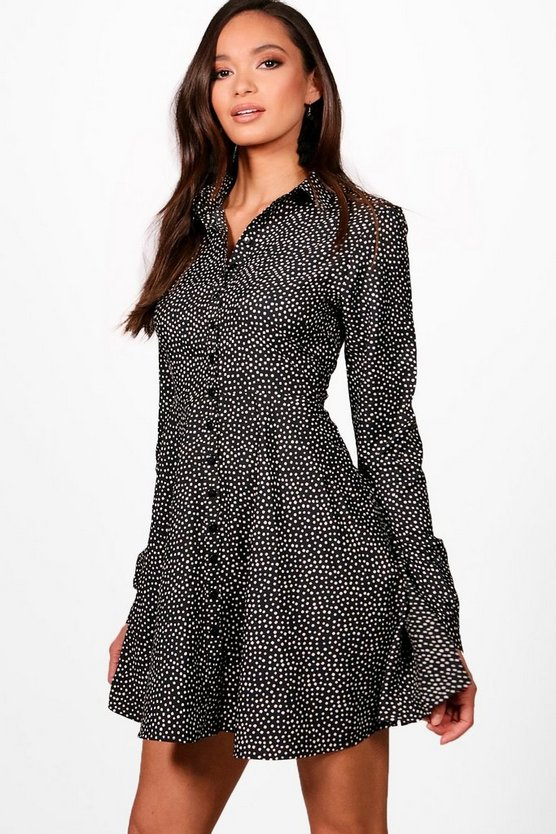 Polka Dot Print Skater Shirt Dress