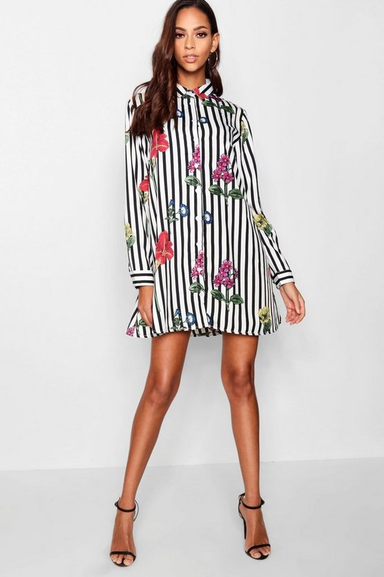 Tyler Stripe & Floral Print Shirt Dress