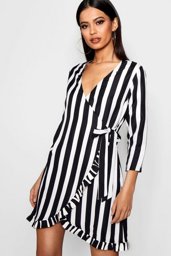 Womens Black Stripe Plunge Ruffle Wrap Dress