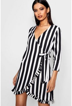 Stripe Plunge Ruffle Wrap Dress, Черный, Женские