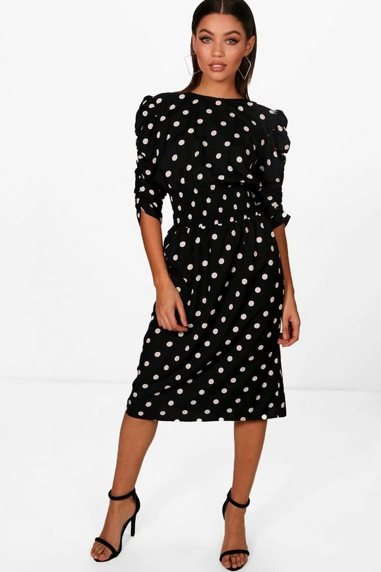 Ruched Sleeve Shirred Polka Dot Midi Dress