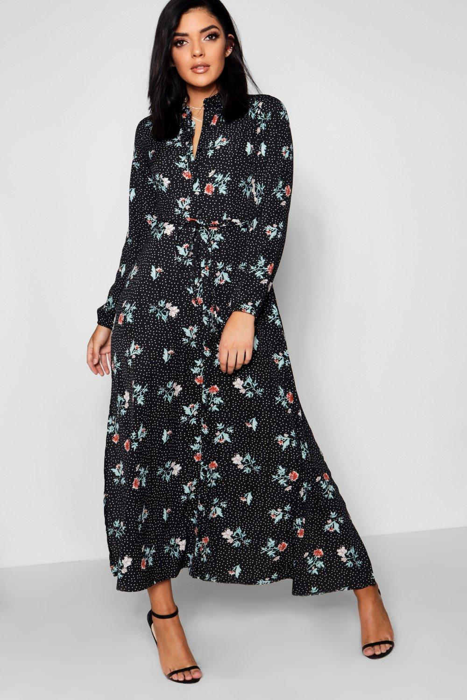 Vaak Polka Dot & Floral Print Split Maxi Shirt Dress | Boohoo @QI47