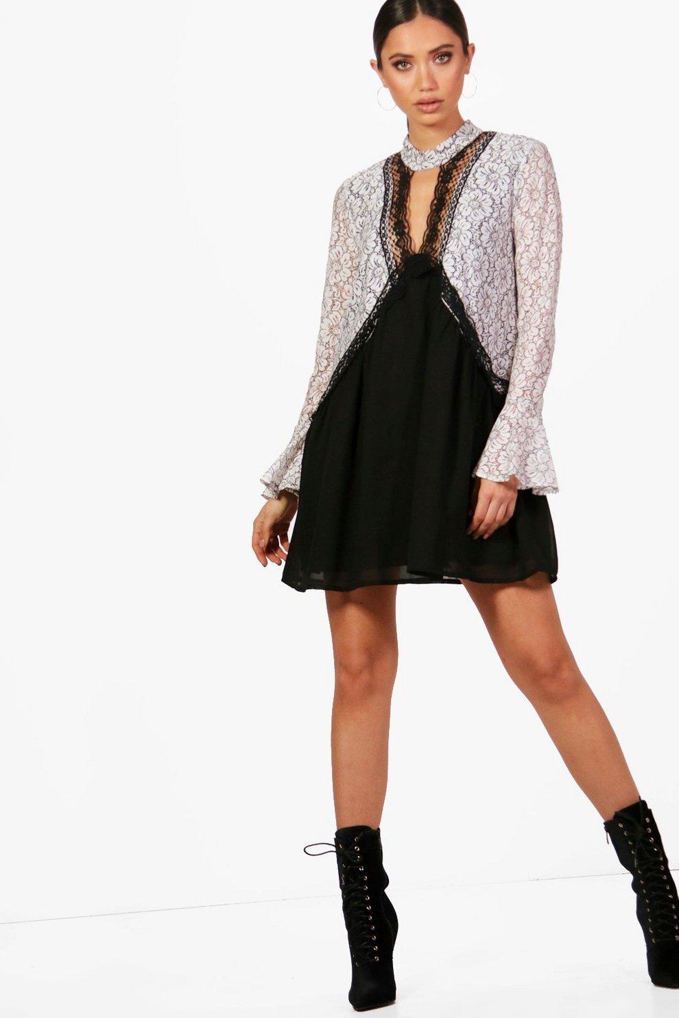 e895216e390ea Choker Lace Detail Shift Dress | Boohoo