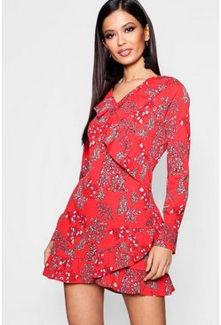 Womens Red Ruffle Front Tea Dress
