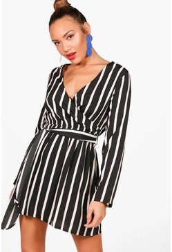 Womens Black Double Wrap Stripe Skater Dress
