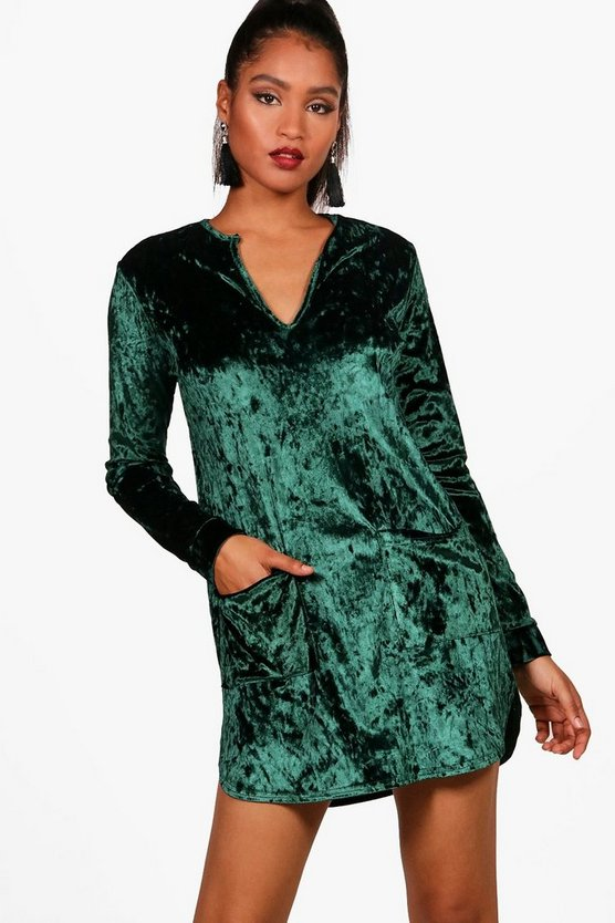 Crushed Velvet Pocket Shirt Dress