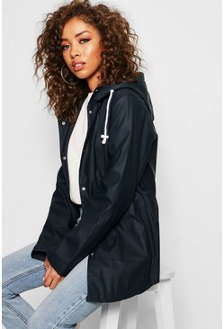 Womens Navy PU Coated Rain Mac