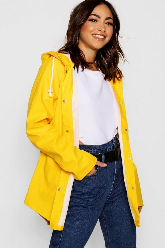 Womens Yellow PU Coated Rain Mac