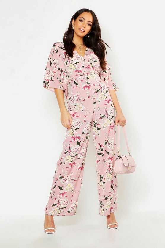 Womens Blush Floral Batwing Jumpsuit