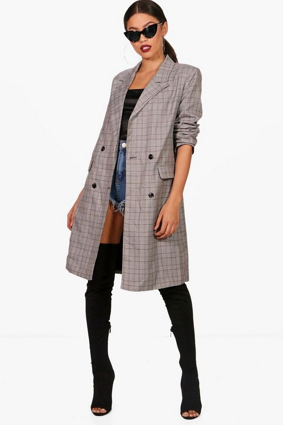 Check Duster Coat
