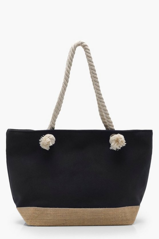 Georgie Contrast Base Rope Handle Beach Bag