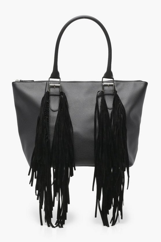 Womens Buckle & Fringe Day Bag